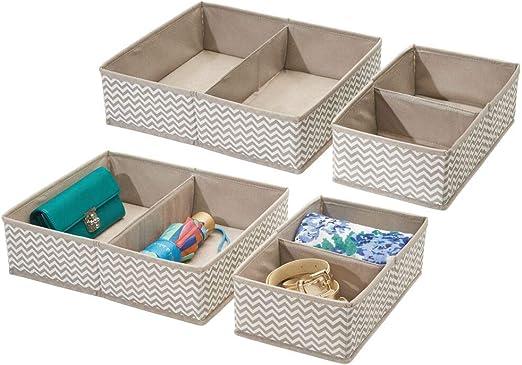 Perfectos cajones de tela para ordenar su armario o c/ómoda Con 5 compartimentos Color: gris mDesign Organizador de tela Set de dos piezas de cajones organizadores de tela