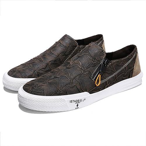 Mocasines para Hombres Zapatos Deportivos de Otoño Zapatos de Skate Bajos Negro Marrón (Color :