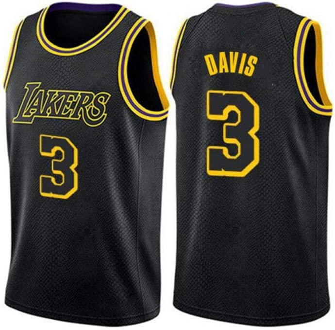 Tutte le taglie Abbigliamento da competizione per allenamento giovanile maschile 185~190CM Basketball Jersey- # 3 Anthony Davis Lakers adatto a tutti i tipi di persone-blackA-XL