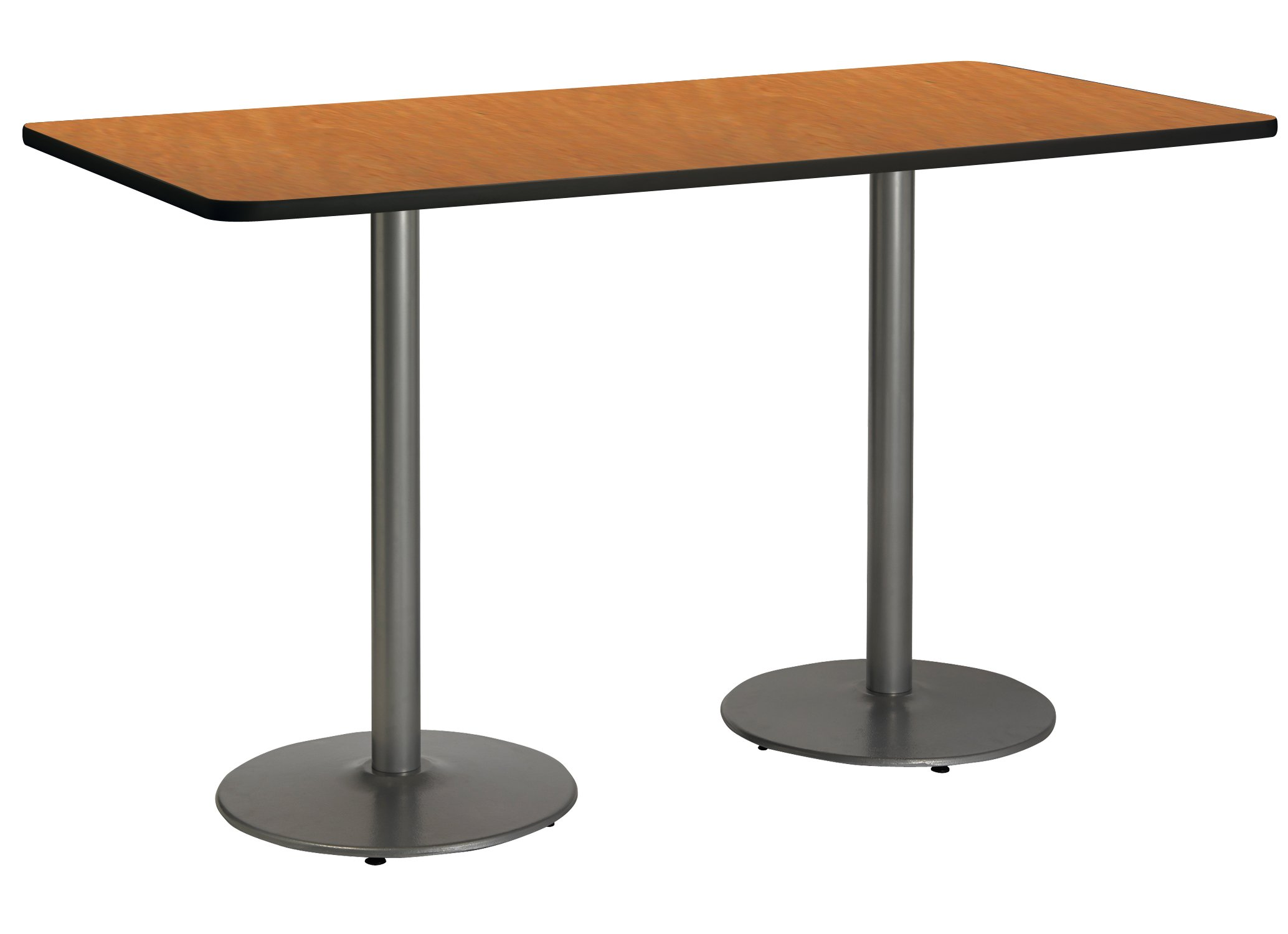 36'' x 72'' Pedestal Table with Medium Oak Top, Round Silver Base, Bistro Height by KFI Seating