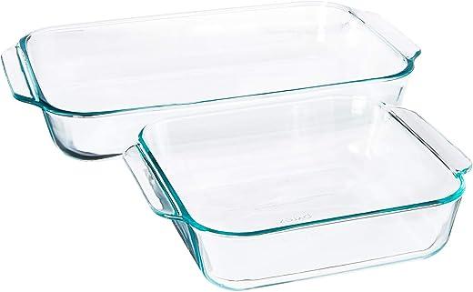 "Pyrex 2Piece Basics Value Pack1-Basics 8""/2 dish1-Basics 3 Quart Oblong Bake Dish, 2.2, Clear"