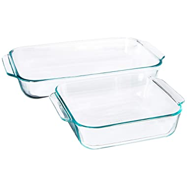 Pyrex SYNCHKG106070 2Piece Basics Value Pack1-Basics 8 /2 dish1-Basics 3 Quart Oblong Bake Dish, 2.2, clear
