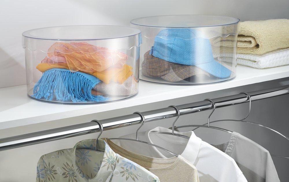 mDesign scatola rotonda accessori e giocattoli trasparente grande contenitore con coperchio e organizer per cinture sciarpe
