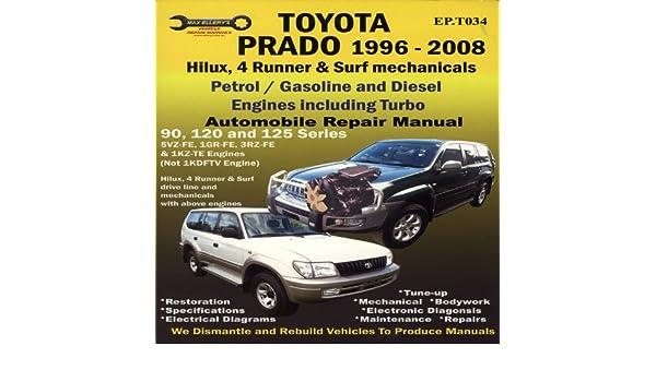 Toyota Prado 1996-2008 Automobile Repair Manual: Hilux, 4 Runner & Surf Mechanicals: Petrol / Gasoline and Diesel Engine: Amazon.es: Max Ellery: Libros en ...