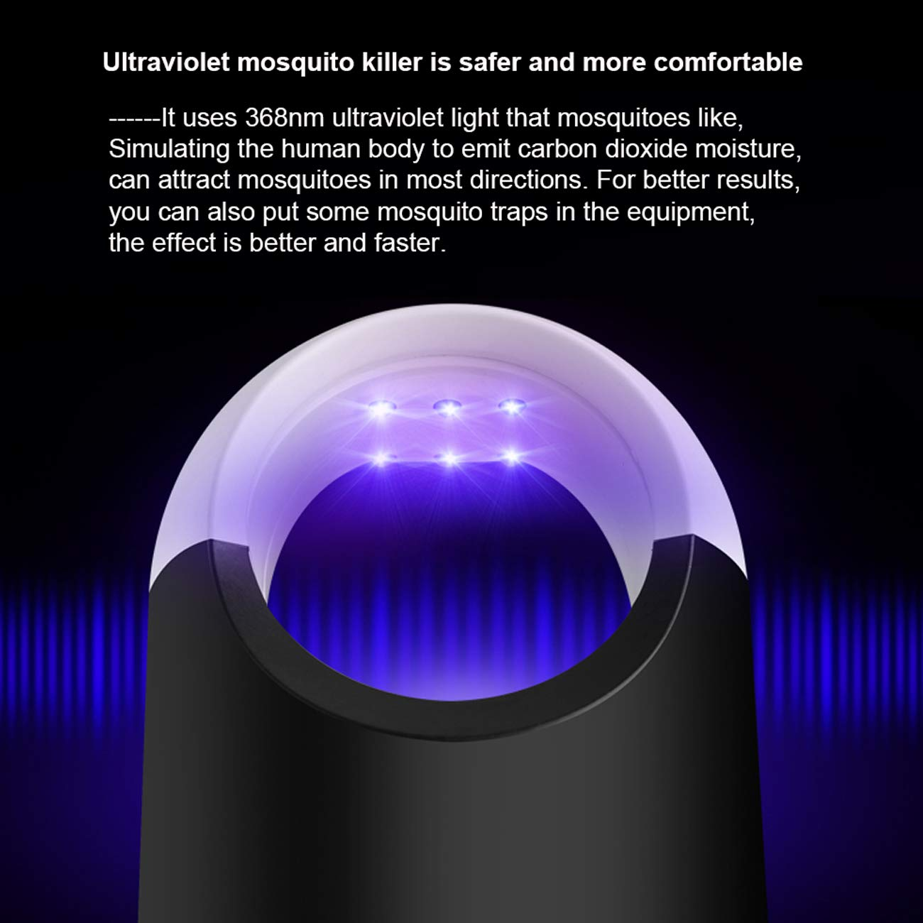Healthy Anti-Mosquito Lamp for Indoor /& Outside Bug Fly Zapper with The Physical Killer Without Chemical Material Mosquito Killer lamp Black Electronic Mosquito Trap Lamp for Children Sleeping