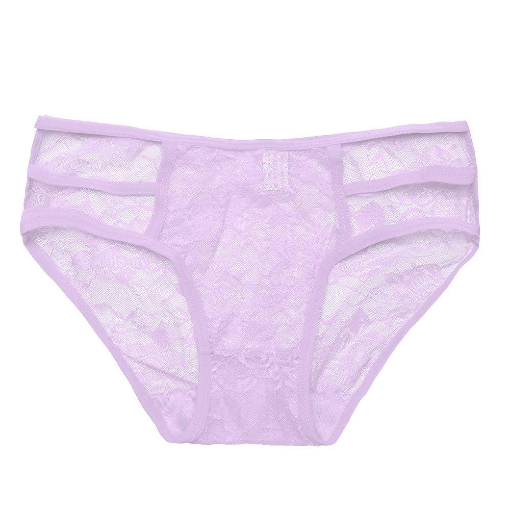"Women Briefs Sexy Hot Mesh Lingerie Knickers G-String Thongs Panties Temptation Underwear (22.31""-28.87"", Purple)"