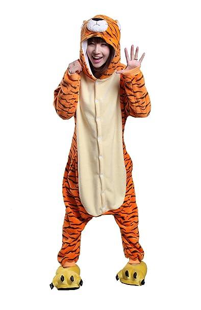 Honeystore Adult Unisex Tiger Pajamas Halloween Costume Cosplay Animal  Onesies S 92ada04ed289