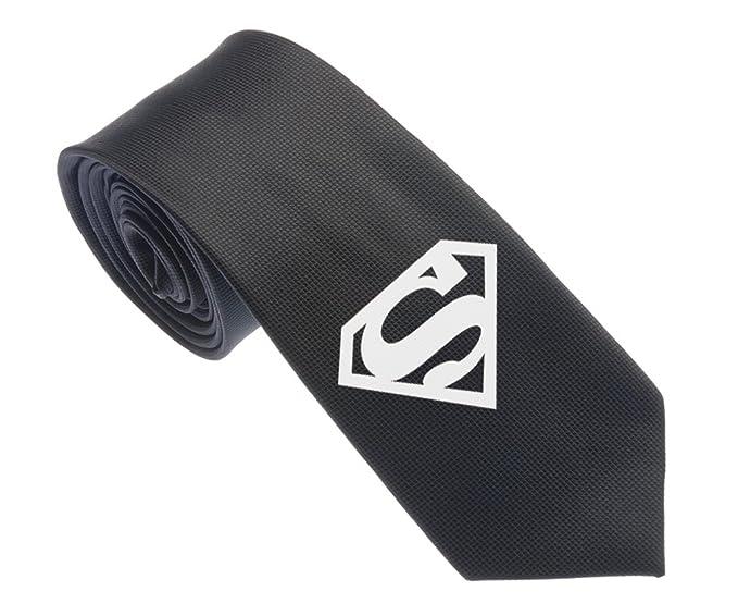 Uyoung Superman Symbol Pattern Black Mens Woven 25 Skinny Tie
