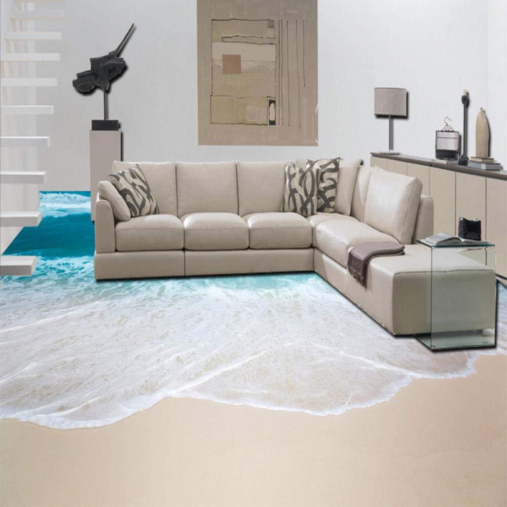 140Cm 200 Autoadesivo autoadesivo della carta da parati delle mattonelle di pavimento del salone 3D del bagno dellonda del mare 3D murale impermeabile del PVC
