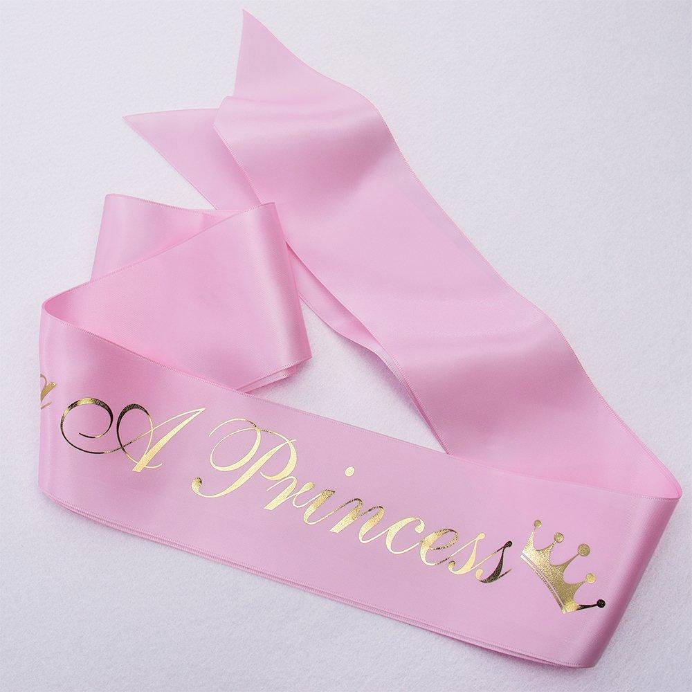 ''Growing a Princess'' Sash & Flower Crown Kit - Baby Shower Sash Princess Baby Shower Baby Sprinkle (Pink & Gold) by TTCOROCK (Image #4)