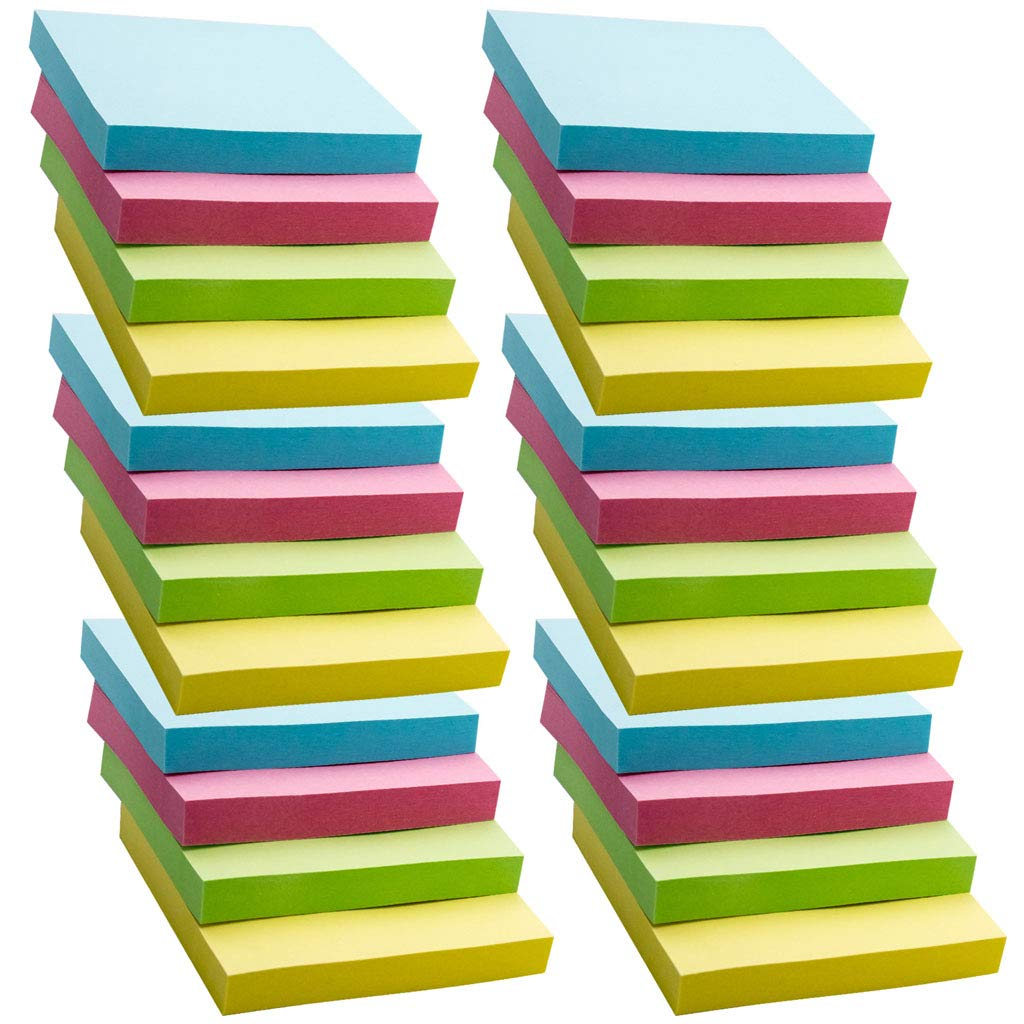 HONG LIN Super Sticky Notes, Self-Stick Notes, 24 Pads/Pack, 100 Sheets/Pad, Sticky Notes 3x3 inch with Assorted Colors, Post Notes for Study, Works, Daily Life etc.