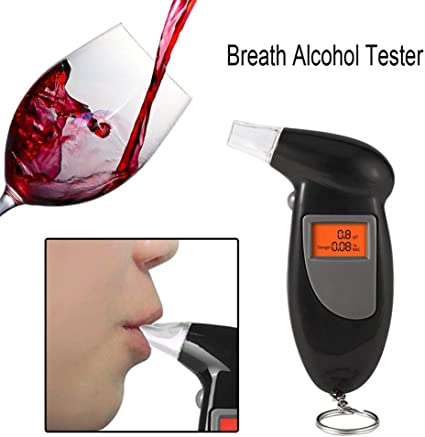 CRZJ Breathalyzer And Alcohol Tester Digital Alcohol Breathalyzer High Accuracy Portable Alcohol Breath Tester LCD Display with 5 Mouthpieces And Key Ring
