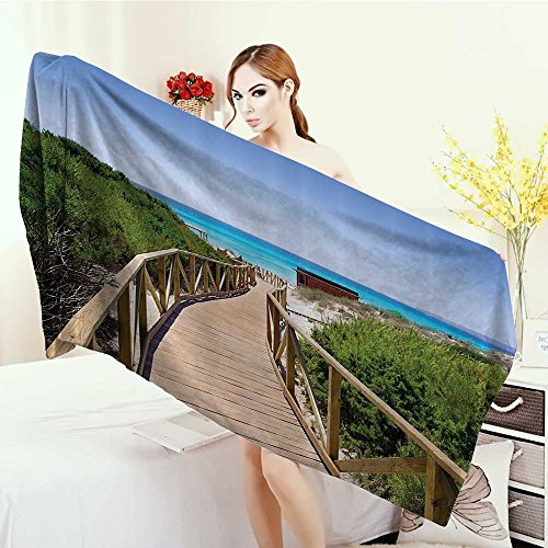 Anhounine Print fancy towels Seaside Decor Collection Beach Pathway over the Woodland in Spain Countryside Cottage Summer Sun Time Print Customized bath Towels 55''x27.5'' Green Cream Blue by Anhounine
