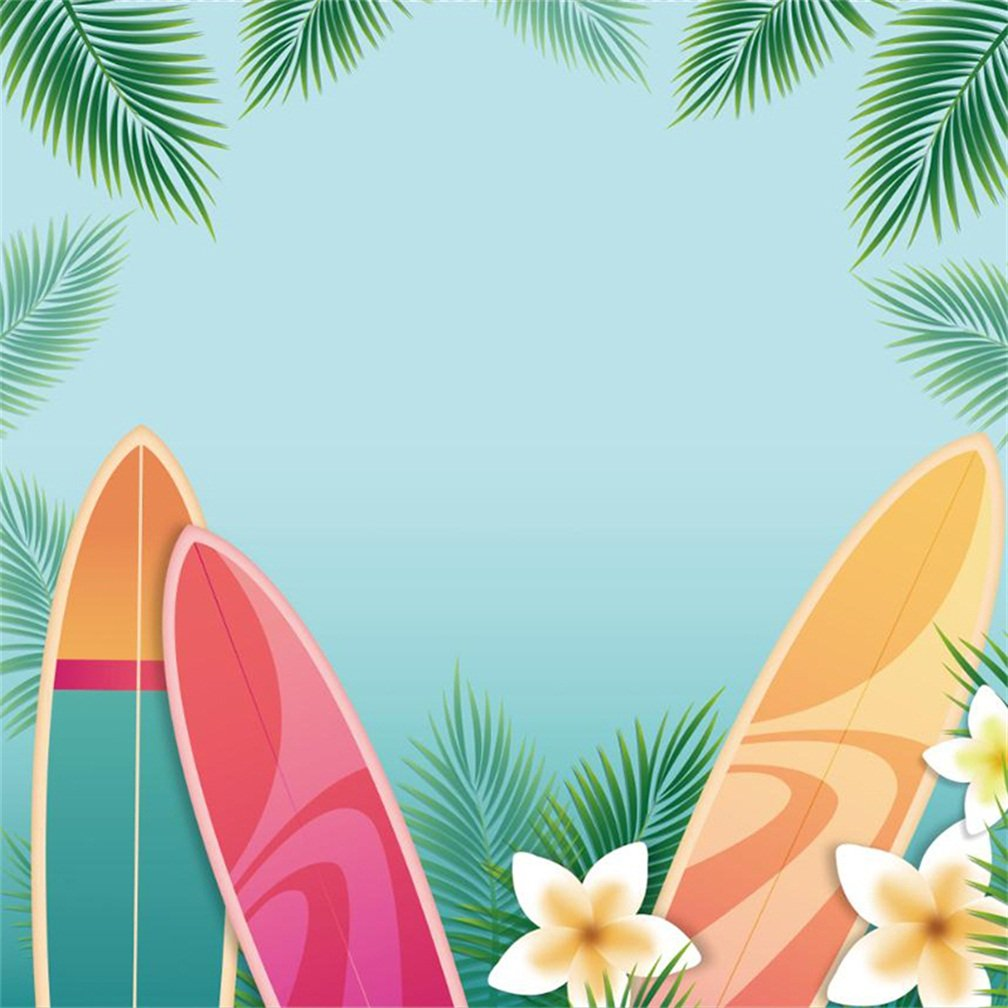 CSFOTO - Papel Pintado de poliéster para Tabla de Surf, Fondo de fotografía Tropical, para Verano, Vacaciones, mar, océano, Resorte, Flores, Verano, Fiesta, ...