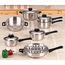 Maxam KT17 17 Piece 9-Element Surgical-Stainless-Steel Waterless Cookware Set, Silver