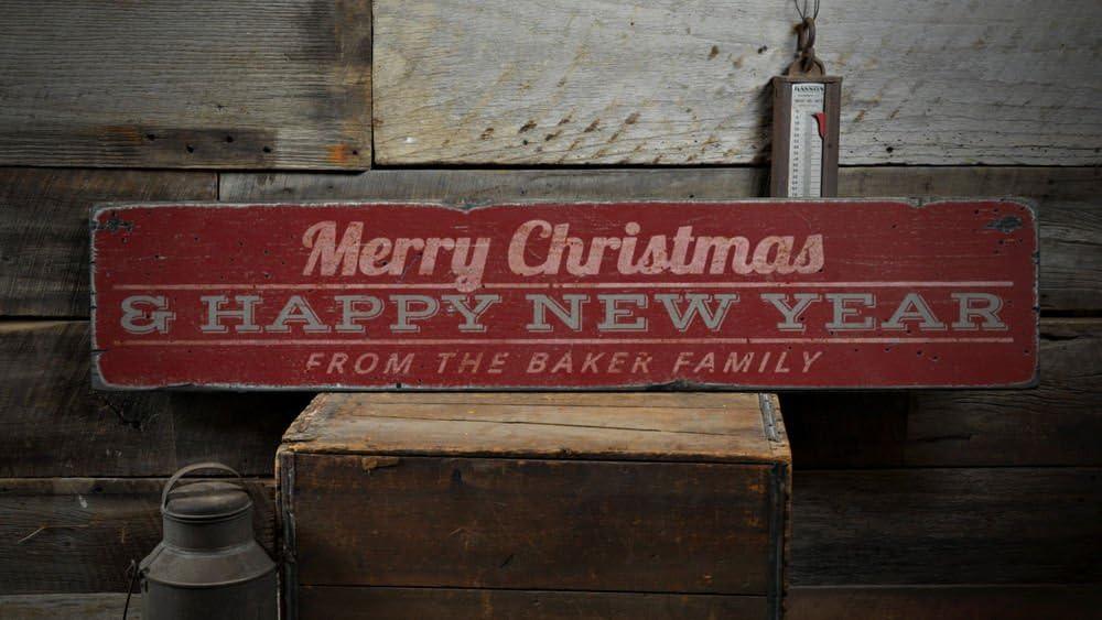 Amazon.com: Feliz Navidad y Feliz Año Nuevo Letrero De ...