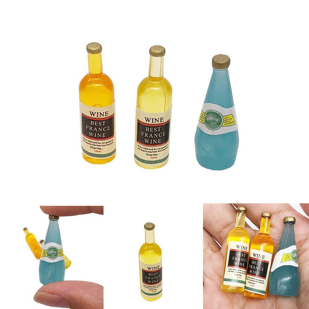 Binory Mini Wine Bottles Set for 1/12 Dollhouse Furniture,Fashion Modern Design Miniature Living Room/Kitchen Kids Pretend Toy,Creative Birthday Handcraft Gift Dollhouse Collection
