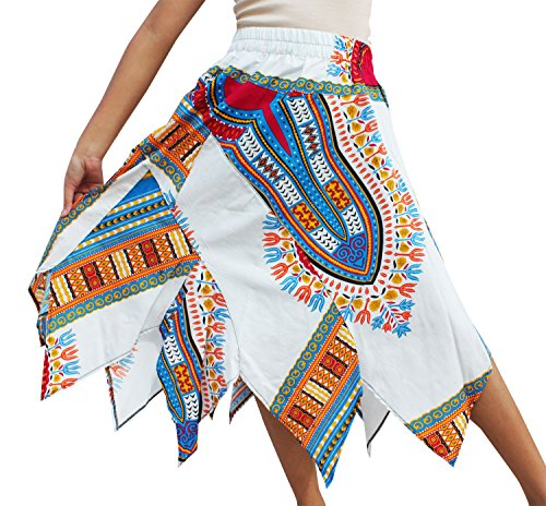RaanPahMuang Brand Wild Angle Cut African Boubou Afrika Dashiki Art Dance Skirt, Long SizeM, New White (New Fair Trade Handmade Art)