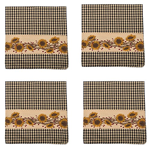 Sunflower N Berries Black Gingham 18 x 18 All Cotton Napkin Pack of 4