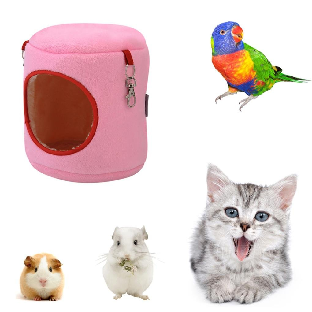 OOEOO Pet House, Warm Bed Rat Hammock Squirrel Toys Pup Hamster Cage House Hanging Nest (Pink, S)