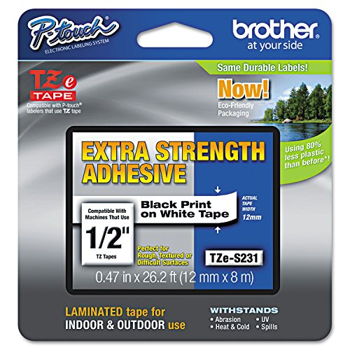 Adhesive Laminated Tape - Brother Genuine P-touch TZE-S231 Label Tape, 1/2
