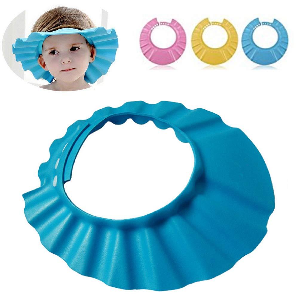 Chapeau de douche en EVA pour bébés, Lomire visière/bonnet de bain bonnet de douche réglable et imperméable pour enfants, outil de protection parfait les yeux et visage de shampoing - Jaune