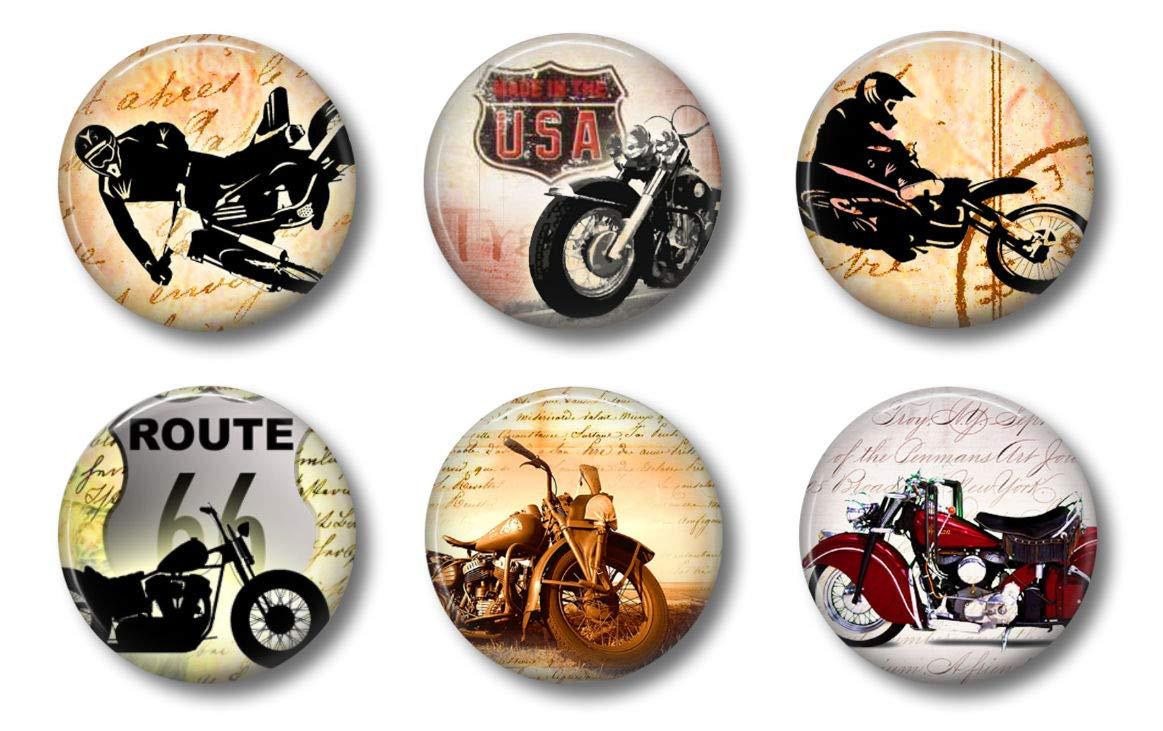 Locker Magnets For Boys - Vintage Motorcycle Magnets - Fun School Supplies - Whiteboard Office or Fridge - Funny Magnet Gift Set (Motorcycles)