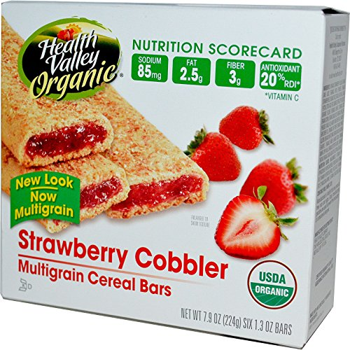 Health Valley, Organic Multigrain Cereal Bars, Strawberry Cobbler, 6 Bars, 37 g Each - (Multigrain Cereal Bars)