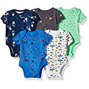 Rosie Pope Baby Boys 5 Pack Bodysuits (More Colors Available), Space Theme, 3-6 Months