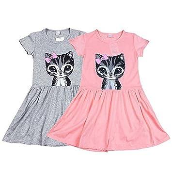 wyhui vestido de niñas niños verano algodón diseño de gatos de manga corta vestido de fiesta para niñas vestido age2 - 8Y: Amazon.es: Hogar