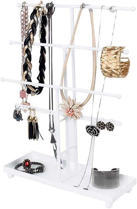 Amazon Com Urban Deco Jewelry Organizer Stand 4 Tier Necklace Holder With Base Tray 26 Holes For Pierced Earrings For Girls And Women To Organize Necklace Earrings Bracelet Ring Watch And Hair