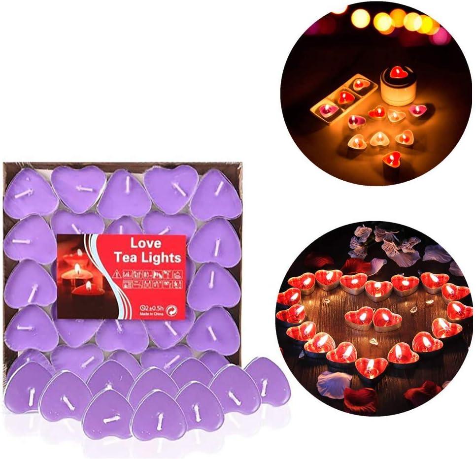 Violet 50 x Amour Bougies romantiques lumi/ère de th/é sans fum/ée pour d/écoration Table Mariage Saint Valentin Anniversaire Confession D/îner aux Chandelles 99AMZ Bougies Forme de Coeur damour