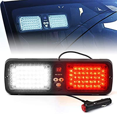 Xprite White Red 86 LED SunShield Sun Visor Emergency Strobe Lights 12 Flash Modes Hazard Warning Light for Law Enforcement Vehicle: Automotive