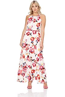 d0d3ae6a44 Roman Originals Womens Floral Belted Maxi Dress - Ladies Summer Daytime  Sleeveless Wedding Guests Outfits Royal…