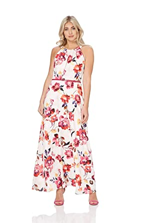 dac0486f02d Roman Originals Womens Floral Belted Maxi Dress - Ladies Summer Daytime  Sleeveless Wedding Guests Outfits Royal Ascot Elegant Dresses - Pink   Amazon.co.uk  ...