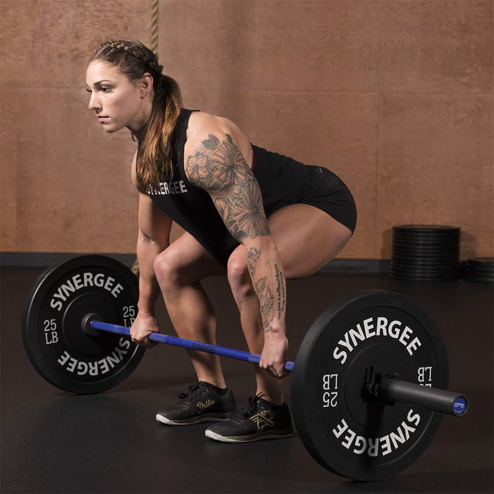 Synergee Games 15kg Colored Women's Blue Cerakote Barbell. Rated 1500lbs for Weightlifting, Powerlifting and Crossfit by Synergee (Image #7)