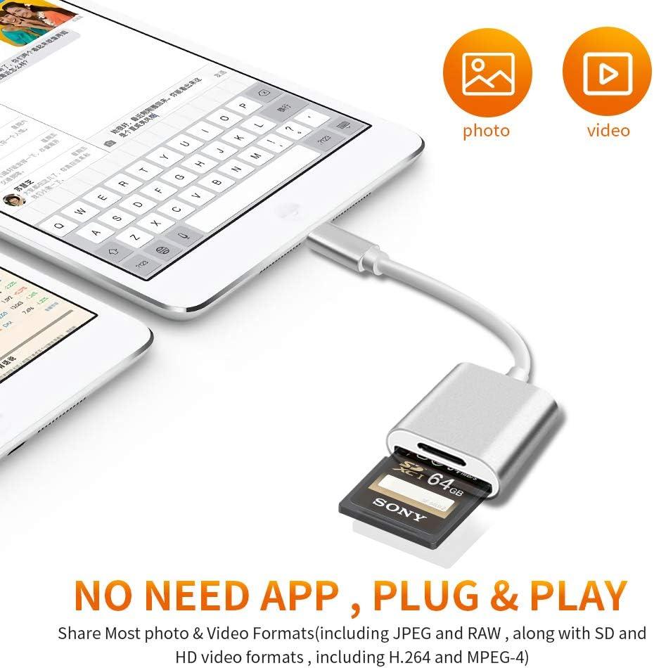 cavo adattatore OTG USB compatibile con iPhone xs//x Lettore di schede di 2 in 1 adattatore per lettore di a doppio slot per schede TF e SD iPad Pro//Mini//Air 6//5 8 7s 7Plus