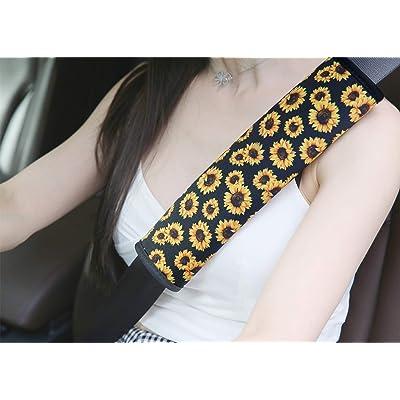YR 2 Packs Soft Comfort Car Seat Belt Pads Cover, Universal Car Seat Belt Shoulder Pads Strap Covers for Adults, Car Seat Belt Cushions, Sunflower: Automotive