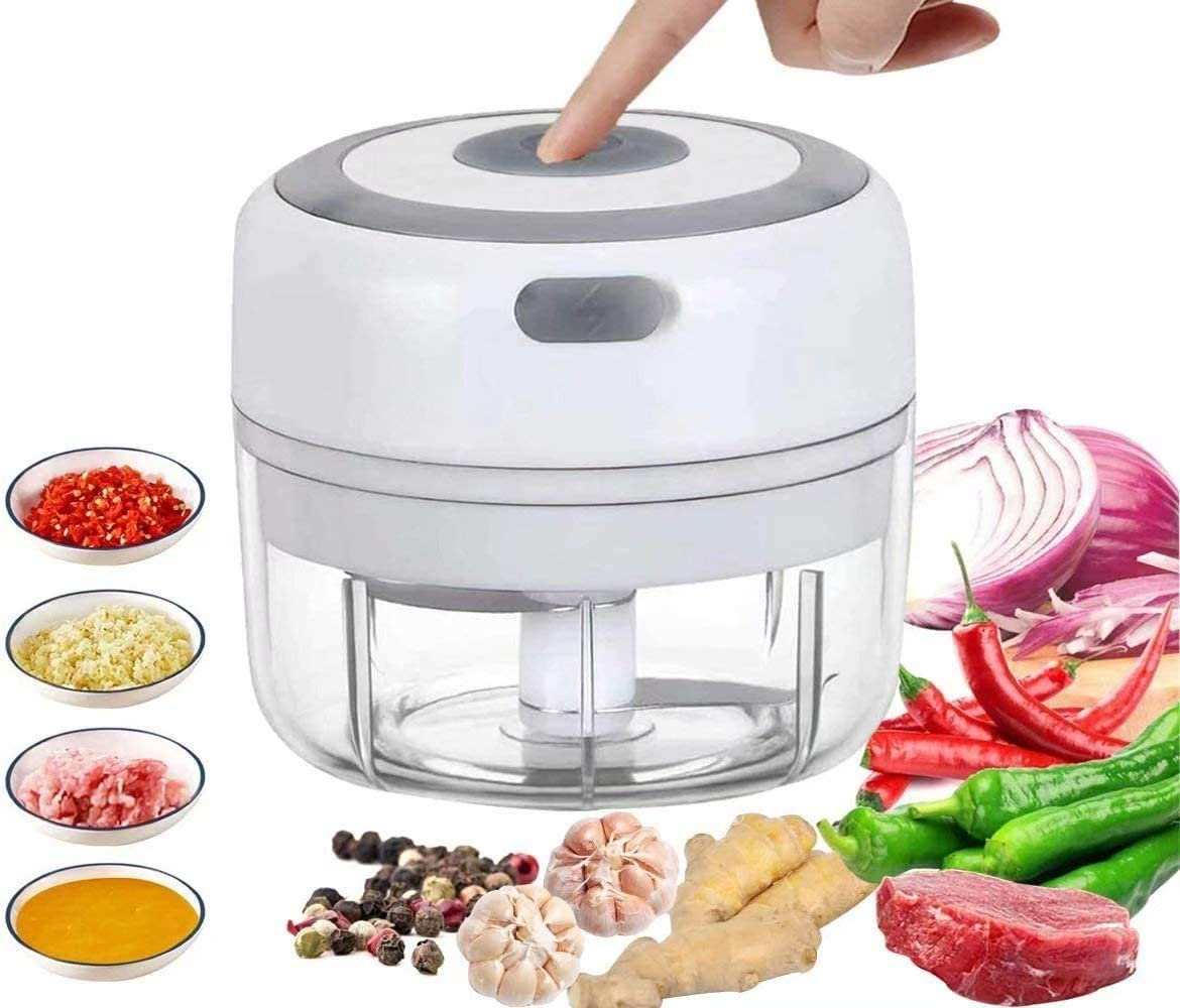 Mini Food Chopper Electric Small Food Processor Portable Fruit Blender Mixer Chops Vegetables, Nuts & Onion Meat Mincer Grinder Salad Grinder (White)