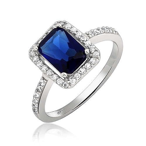 Bling Jewelry Esmeralda Color Azul Zafiro CZ Allanar Anillo de Compromiso Plata