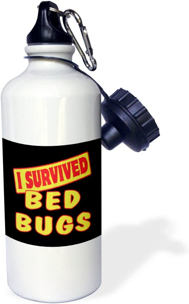 21 oz 3dRose wb/_117770/_1I Survived Bed Bugs Survial Pride And Humor Design Sports Water Bottle White