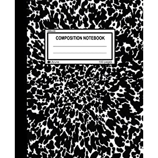"Unruled Composition Notebook: 100 unruled pages [50 sheets], 7.5"" x 9.25, black marble, composition style cover, perfect bound notebook. (Arune Composition Books) (Volume 1)"