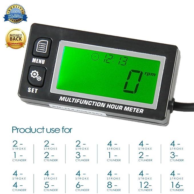 Medidor de horas multifunción retroiluminado - Tacómetro voltímetro con reloj 2 y 4 tiempos medidor de hora inductiva para motor pequeño barco fuera ...