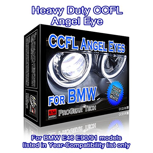 Heavy Duty CCFL Angel Eye Halo Ring DRL 146-mm 131-mm E46 E90 E91 for Non-Projector headlight (7000K True White) - Ccfl Angel Eyes Halo Ring