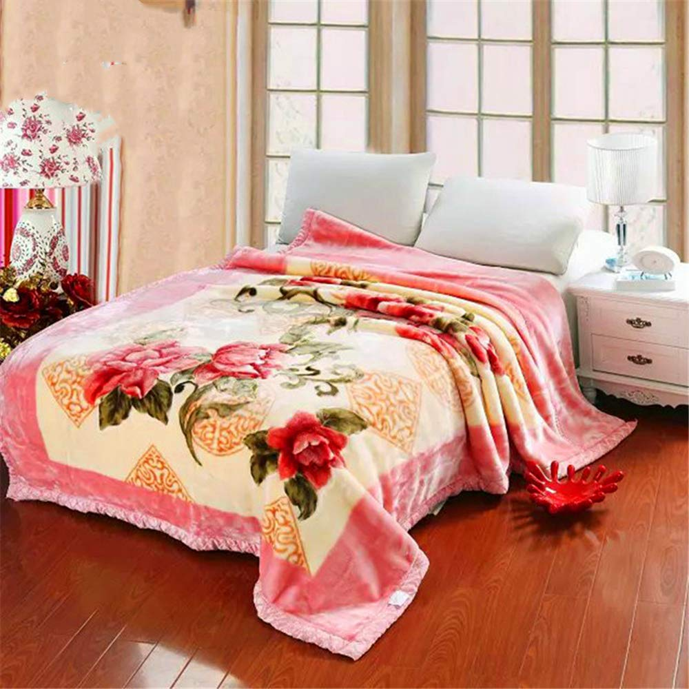 Thick Blanket Double-Layer Blanket Microfiber Fine Texture Long-Lasting Warmth Moisture and Breathable 278 Powder 200230cm 3.5kg by iangbaoyo
