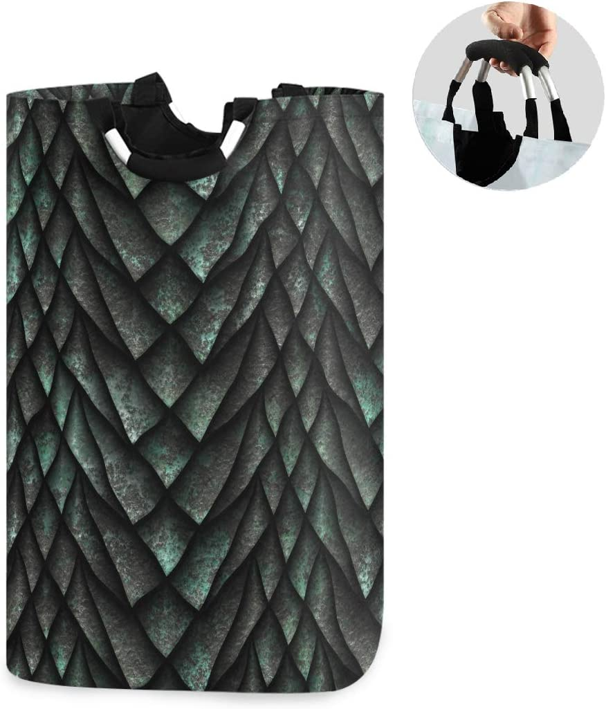 ALAZA Large Laundry Basket 3D Dragon Scales Skin Abstract Triangle Laundry Bag Hamper Collapsible Oxford Cloth Stylish Home Storage Bin with Handles, 22.7 Inch