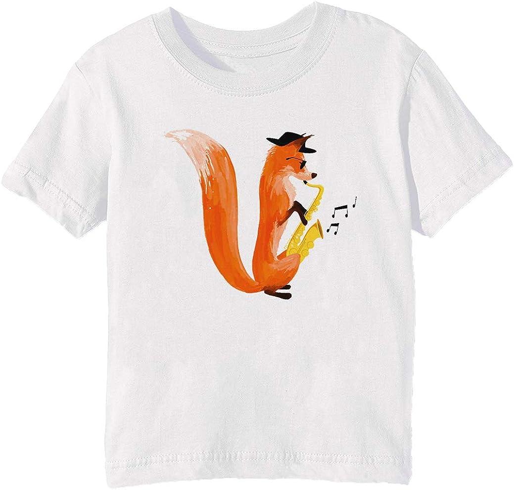 Llamativo Zorro Niños Unisexo Niño Niña Camiseta Cuello Redondo Blanco Manga Corta Tamaño 3XS Kids Boys Girls White XXX-Small Size 3XS: Amazon.es: Ropa y accesorios