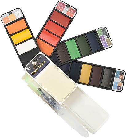 Cizen Caja de Acuarelas Sólidas, Set de Pintura de Acuarela Sólida, Profesional 18 Colores Pigmentos de Pintura Portátil para Pintura Al Aire Libre Sketch: Amazon.es: Hogar