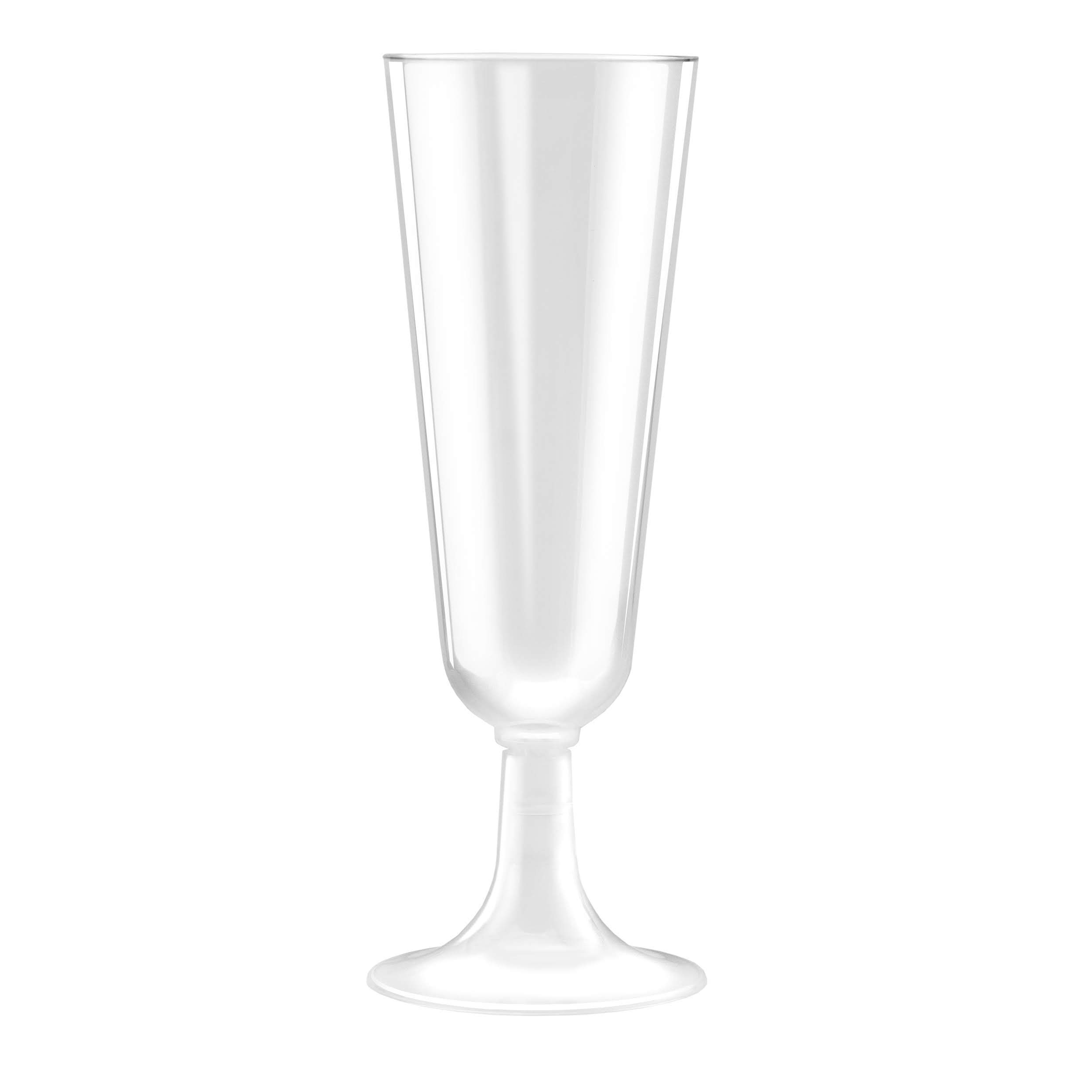50 Plastic Champagne Flutes   5.5 oz. Clear Hard Disposable Party & Wedding Cups   Premium Heavy Duty Fancy Champagne Flute (50-Pack) by Bloomingoods by BloominGoods