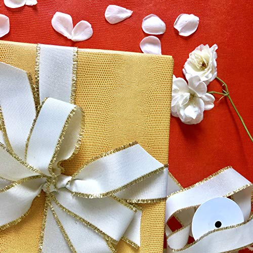 Beige Grosgrain Ribbon with Gold Trim, 1 1/2 Inch, 10 Yards of Cream White & Gold Fabric Ribbon, Double Face, 30 ft of Premium Ornate Ribbon for Elegant Gift Wrapping, Perfect for Baby Shower